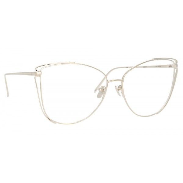 Linda Farrow - 809 C9 Cat Eye Optical Frames - White Gold - Linda Farrow Eyewear
