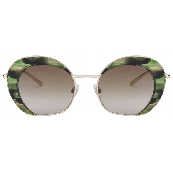 Giorgio Armani - Retrò - Occhiali da Sole in Metallo con Lenti Sfumate - Verdi - Occhiali da Sole - Giorgio Armani Eyewear
