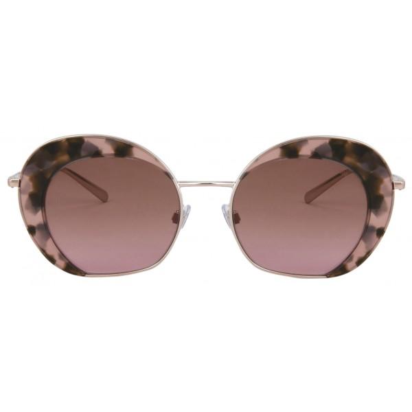 Giorgio Armani - Retrò - Occhiali da Sole in Metallo con Lenti Fantasia - Rosa - Occhiali da Sole - Giorgio Armani Eyewear