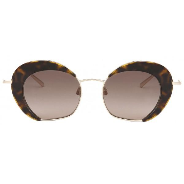 Giorgio Armani - Retrò - Occhiali da Sole in Metallo con Lenti Animalier - Marroni - Occhiali da Sole - Giorgio Armani Eyewear