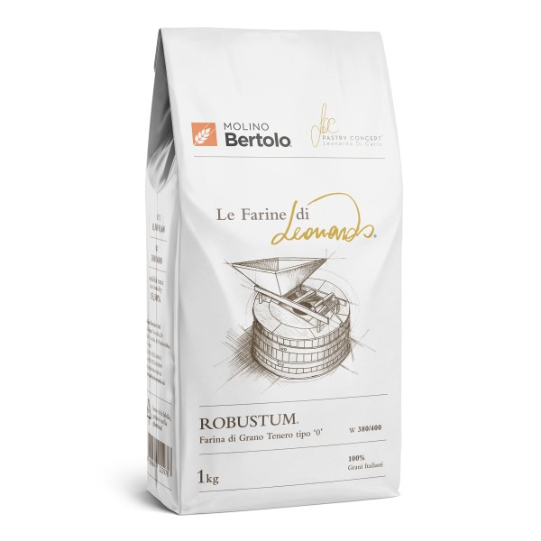 Molino Bertolo - Robustum® - The Flours of Leonardo® - Flour Type 0 of Italian Soft Grain - 1 Kg