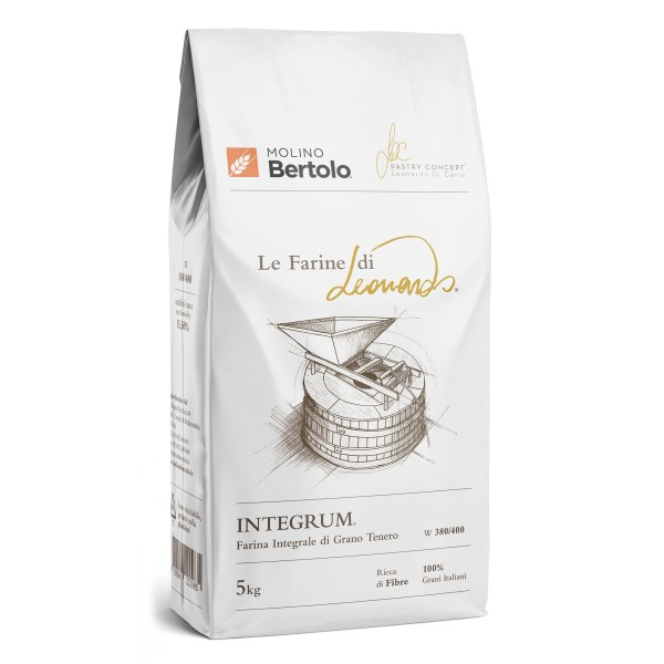 Molino Bertolo - Integrum® - The Flours of Leonardo® - Wholemeal Flour of Italian Soft Grain - 5 Kg
