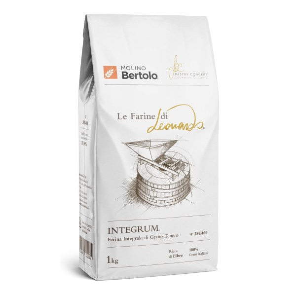 Molino Bertolo - Integrum® - The Flours of Leonardo® - Wholemeal Flour of Italian Soft Grain - 1 Kg