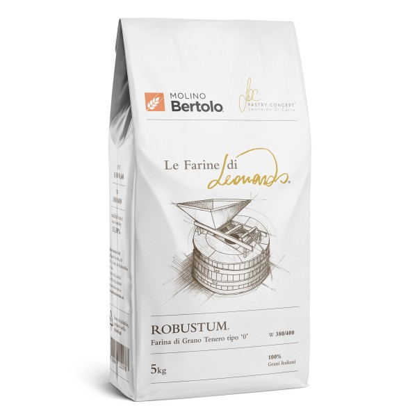 Molino Bertolo - Robustum® - The Flours of Leonardo® - Flour Type 0 of Italian Soft Grain - 5 Kg