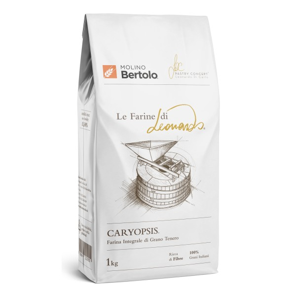 Molino Bertolo - Caryopsis® - Le Farine di Leonardo® - Farina Integrale di Grano Tenero Italiano - 1 Kg