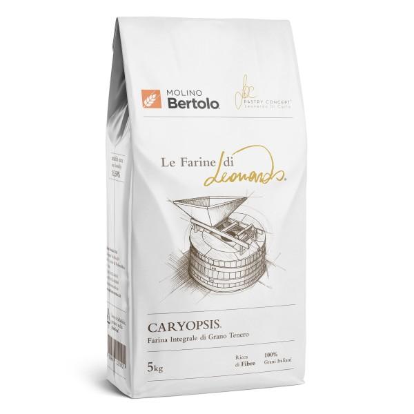Molino Bertolo - Caryopsis® - Le Farine di Leonardo® - Farina Integrale di Grano Tenero Italiano - 5 Kg