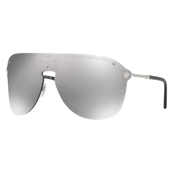 Versace - Occhiale da Sole Versace Mascherina Frenergy - Argento - Occhiali da Sole - Versace Eyewear