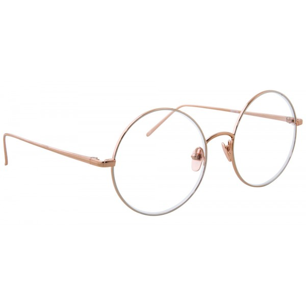 Linda Farrow - 647 C9 Round Optical Frames - Rose Gold with White Gold Rim - Linda Farrow Eyewear