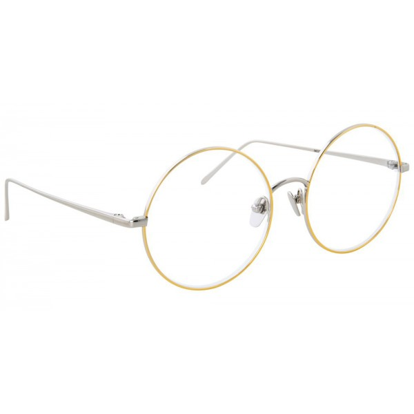 Linda Farrow - Occhiali da Vista Rotondi 647 C8 - Oro Bianco con Bordo in Oro Giallo - Linda Farrow Eyewear