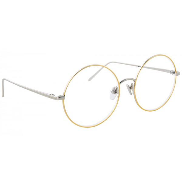 miglior sito web 46d1e bb0f3 Linda Farrow - Occhiali da Vista Rotondi 647 C8 - Oro Bianco con Bordo in  Oro Giallo - Linda Farrow Eyewear