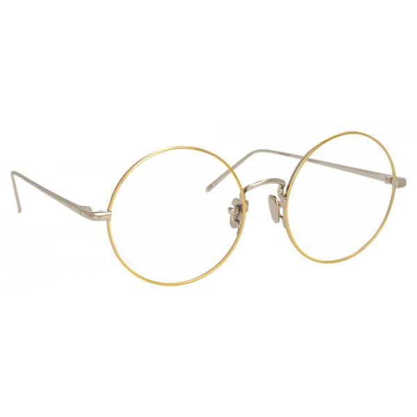 Linda Farrow - Occhiali da Vista Rotondi 741 C10 - Oro Bianco con Bordo in Oro Giallo - Linda Farrow Eyewear