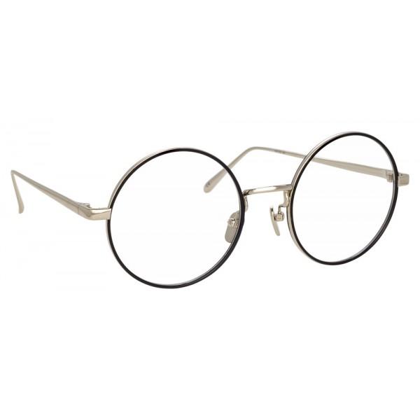 Linda Farrow - 749 C3 Round Optical Frames - White Gold and Black ...