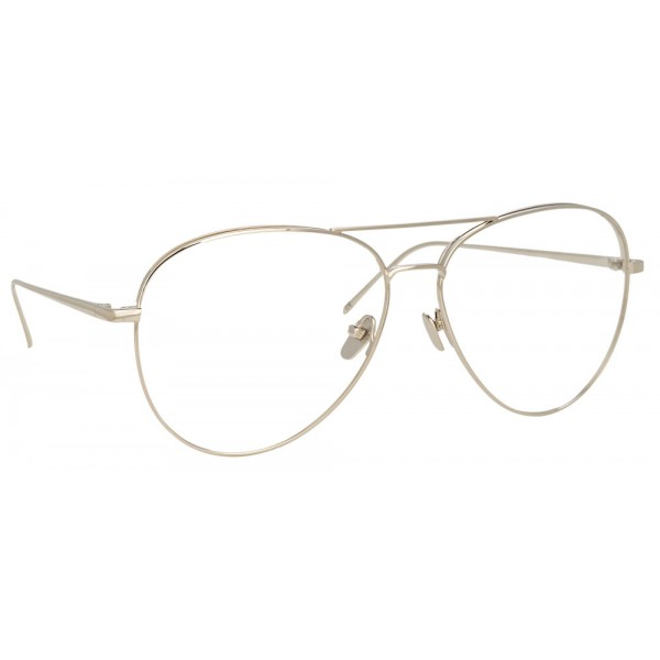 Linda Farrow - 751 C2 Aviator Optical Frames - White Gold - Linda ...