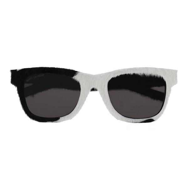 Yves Saint Laurent - Occhiali da Sole Classic SL 51 in Vitello Neri e Bianchi - Saint Laurent Eyewear