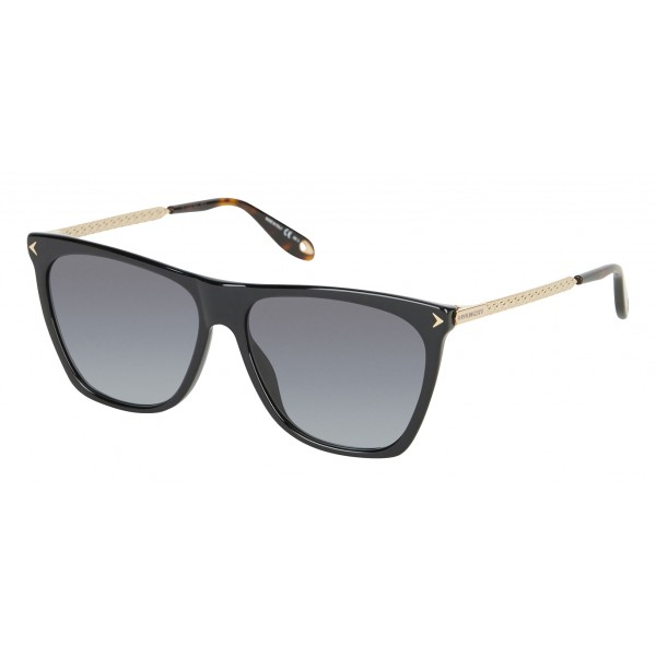 Givenchy - Black Acetate Sunglasses with Gold Metal Bars and Grey Lenses - Sunglasses - Givenchy Eyewear