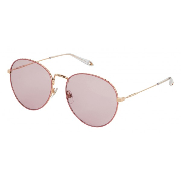 Givenchy - Metal Sunglasses with Rose Gold Finish Frames and Pink Lenses - Sunglasses - Givenchy Eyewear