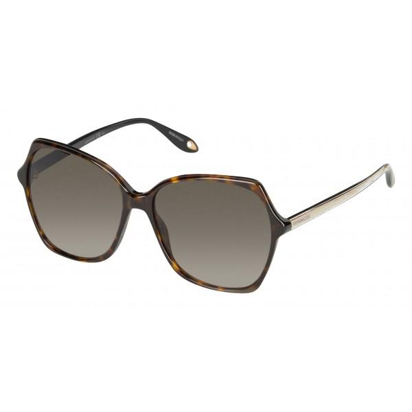 data di rilascio: 34694 bc3e5 Givenchy - Occhiali da Sole Oversize con Aste dall'Anima Oro e Lenti  Marroni - Occhiali da Sole - Givenchy Eyewear