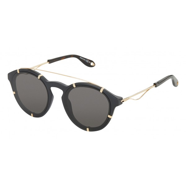 Givenchy - Black Acetate Round Sunglasses with Gold Frame Finish and Grey Lenses - Sunglasses - Givenchy Eyewear
