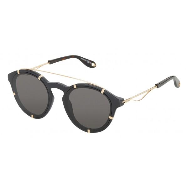 selezione premium dce56 ea5b8 Givenchy - Occhiali da Sole Rotondi in Acetato Nero con Finitura Oro e  Lenti Grigio - Occhiali da Sole - Givenchy Eyewear