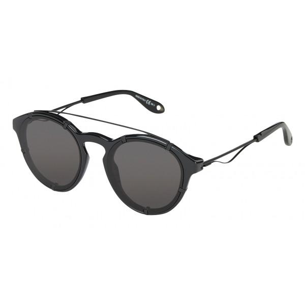 Givenchy - Black Acetate Round Sunglasses with Black Matt Frame Finish and Grey Lenses - Sunglasses - Givenchy Eyewear
