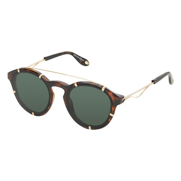Givenchy - Dark Torroise Acetate Round Sunglasses with Gold Frame Finish and Green Lenses - Sunglasses - Givenchy Eyewear