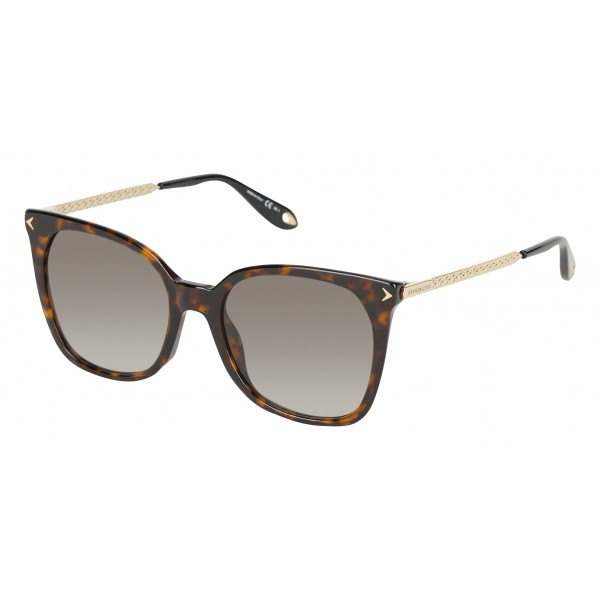 Givenchy - Dark Tortoise Acetate Sunglasses with Gold Metal Bars and Brown Lenses - Sunglasses - Givenchy Eyewear