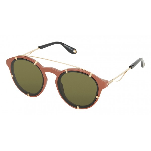 Givenchy - Opaque Brown Acetate Round Sunglasses with Gold Frame Finish and Brown Lenses - Sunglasses - Givenchy Eyewear