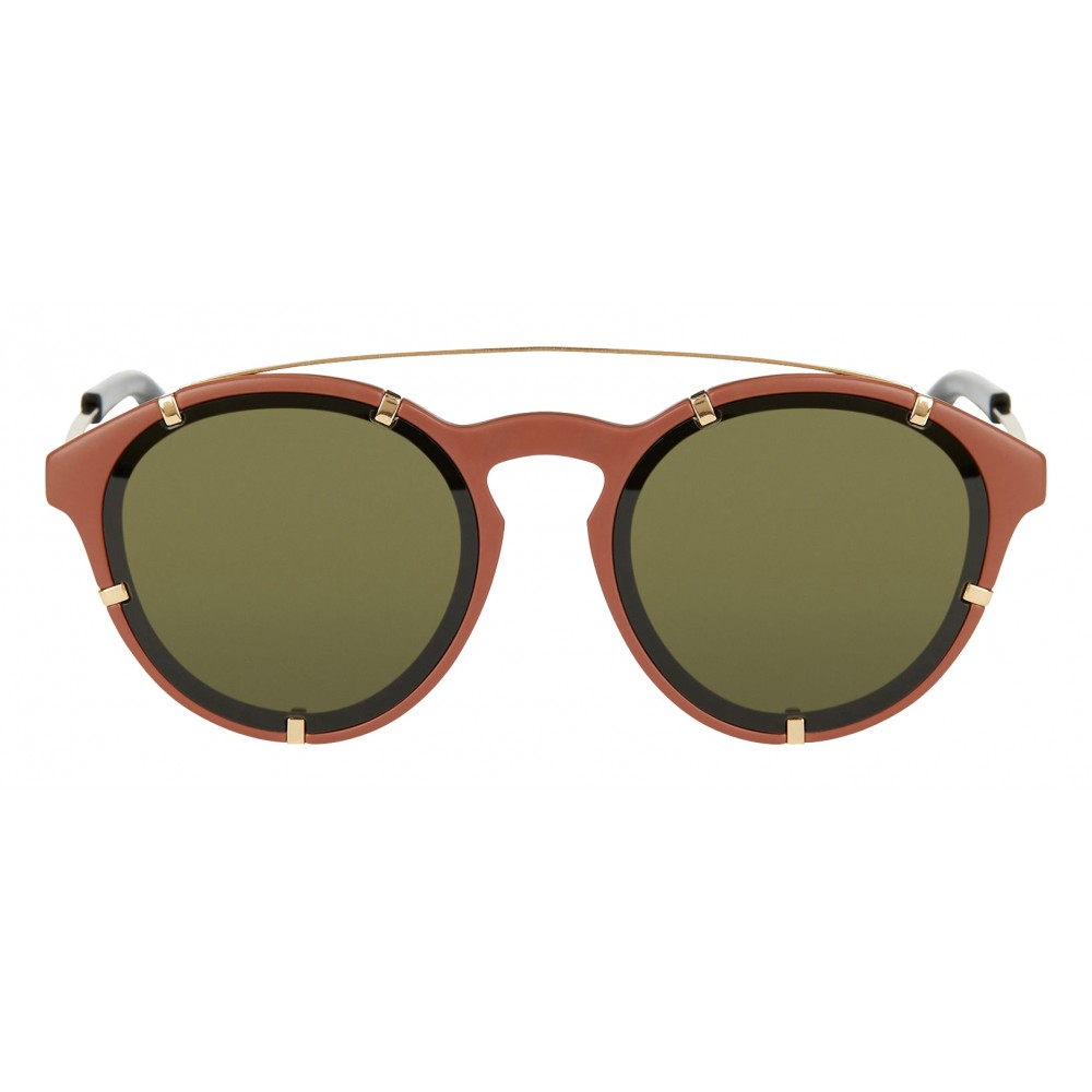 8b798df7d7 ... Givenchy - Opaque Brown Acetate Round Sunglasses with Gold Frame Finish  and Brown Lenses - Sunglasses ...