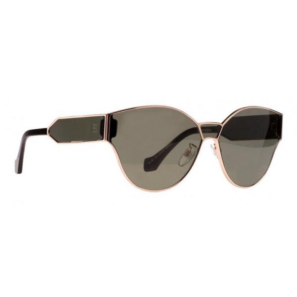 Balenciaga - Occhiali da Sole Cat Eye Oro Rosa Lucido e Avana Scuro con Lenti Verdi - Occhiali da Sole - Balenciaga Eyewear
