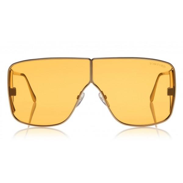Tom Ford Spector Sunglasses Oversize Rectangular Acetate Sunglasses Ft0708 Gold Tom Ford Eyewear Avvenice
