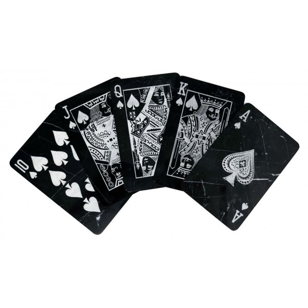 Mikol Marmi - Marble Poker Cards - Mish Marquina Black Marble - Real Marble Poker Cards - Mikol Marmi Collection