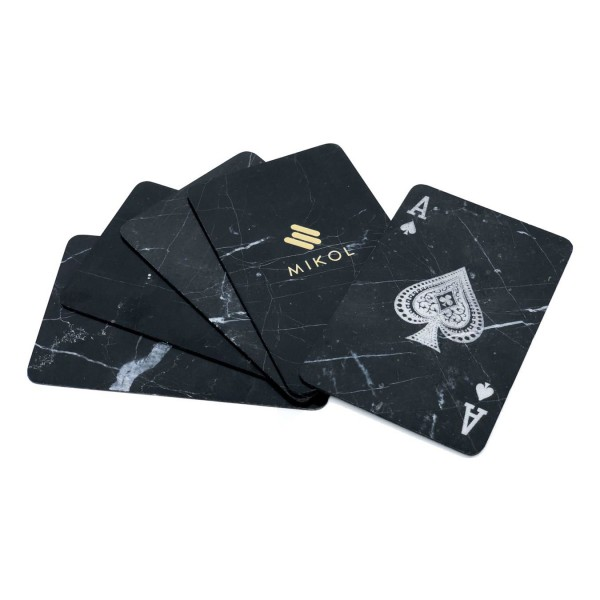 Mikol Marmi - Marble Poker Cards - 4 Aces - Mish Marquina Black Marble - Real Marble Poker Cards - Mikol Marmi Collection