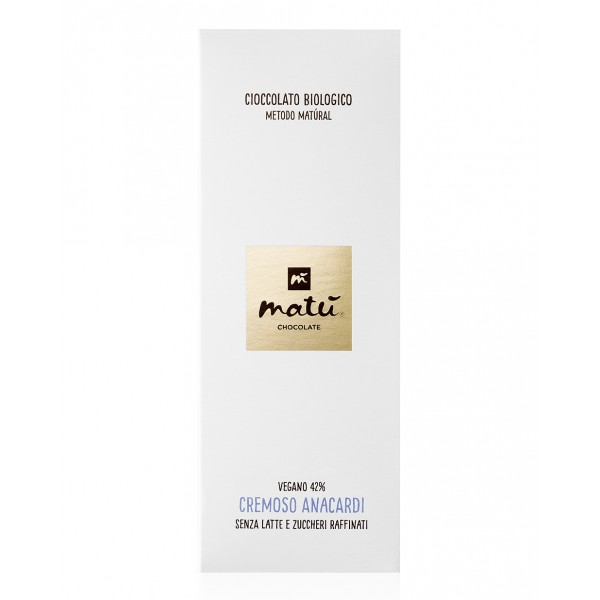 Matù Chocolate - Creamy Cashews - Organic Vegan  Creamy Chocolate Bar with Cashews - 42 % Cacao