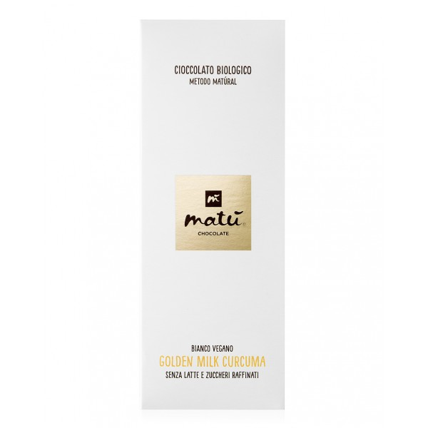 Matù Chocolate - Golden Milk Curcuma - Tavoletta di Cioccolato Biologico Vegano Bianco alla Curcuma