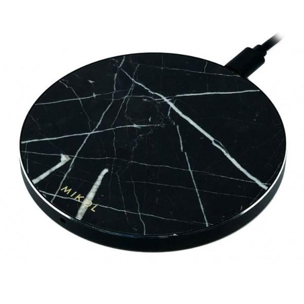 Mikol Marmi - Pad di Ricarica Wireless in Marmo Nero Marquina con Cavo USB - Caricatore da Tavolo - iPhone - Apple - Samsung