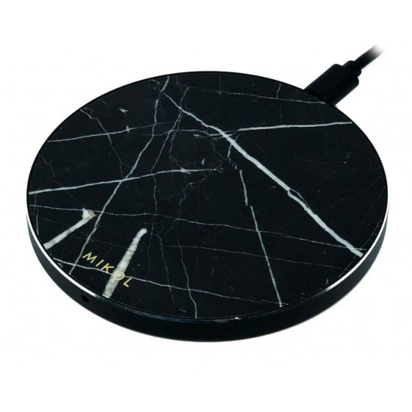 Mikol Marmi - Wireless Charging Pad in Black Marble Marquina with USB Cable - Desktop Charger - iPhone - Apple - Samsung