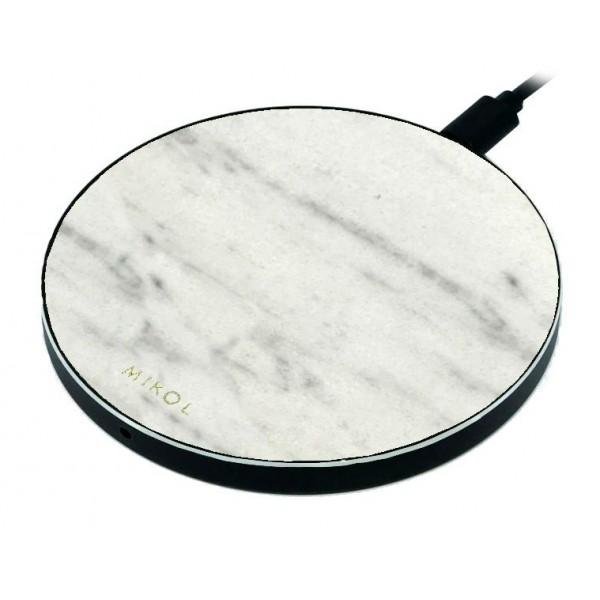 Mikol Marmi - Pad di Ricarica Wireless in Marmo Bianco di Carrara con Cavo USB - Caricatore da Tavolo - iPhone - Apple - Samsung