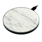 Mikol Marmi - Wireless Charging Pad in White Carrara Marble with USB Cable - Desktop Charger - iPhone - Apple - Samsung