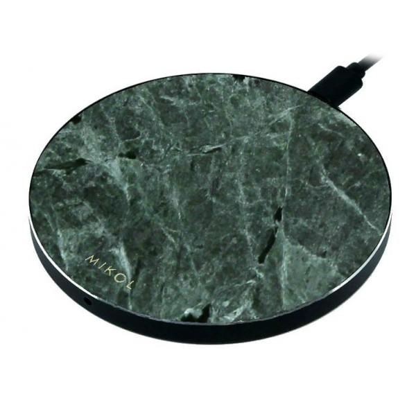Mikol Marmi - Pad di Ricarica Wireless in Marmo Verde Smeraldo con Cavo USB - Caricatore da Tavolo - iPhone - Apple - Samsung