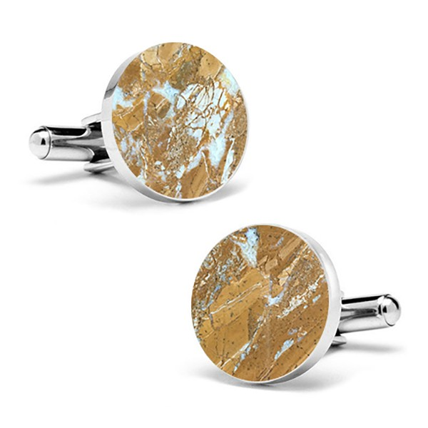 Mikol Marmi - Galaxy Gold Round Marble Cuff Links - Real Marble - Mikol Marmi Collection