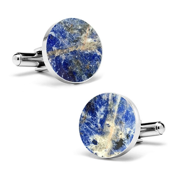 Mikol Marmi - Laguna Blue Round Marble Cuff Links - Real Marble - Mikol Marmi Collection