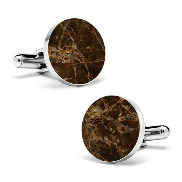 Mikol Marmi - Emperador Round Marble Cuff Links - Real Marble - Mikol Marmi Collection