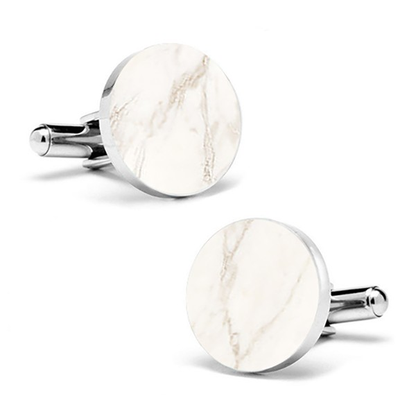 Mikol Marmi - White Carrara Round Marble Cuff Links - Real Marble - Mikol Marmi Collection