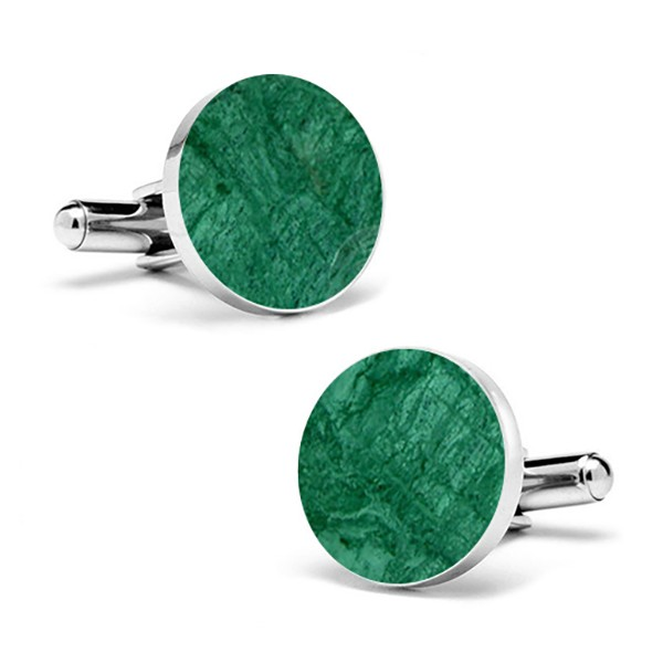 Mikol Marmi - Emerald Green Round Marble Cuff Links - Real Marble - Mikol Marmi Collection