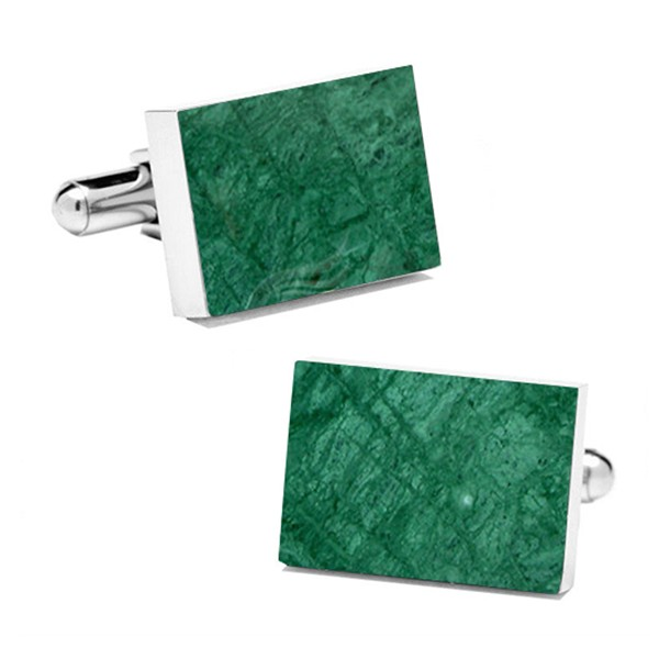 Mikol Marmi - Emerald Green Rectangular Marble Cuff Links - Real Marble - Mikol Marmi Collection
