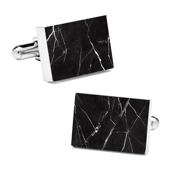 Mikol Marmi - Black Marquina Rectangular Marble Cuff Links - Real Marble - Mikol Marmi Collection