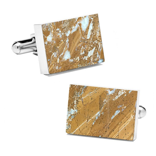 Mikol Marmi - Galaxy Gold Rectangular Marble Cuff Links - Real Marble - Mikol Marmi Collection