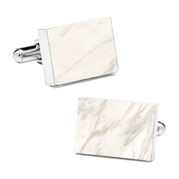 Mikol Marmi - White Carrara Rectangular Marble Cuff Links - Real Marble - Mikol Marmi Collection