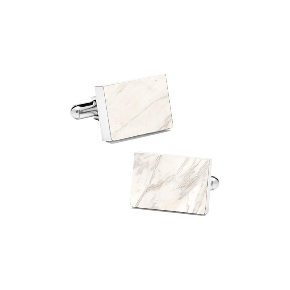 0dab7bbc0c23c Mikol Marmi - White Carrara Rectangular Marble Cuff Links - Real ...