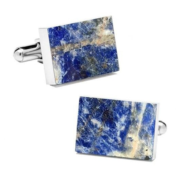 Mikol Marmi - Laguna Blue Rectangular Marble Cuff Links - Real Marble - Mikol Marmi Collection